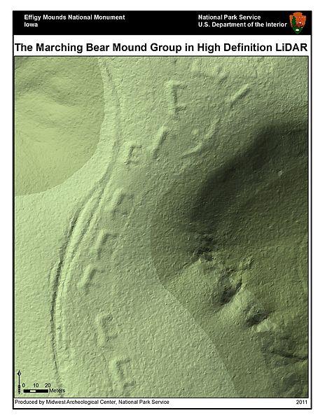 Figure 1. Marching Bear Effigy Mounds Lidar Imagery (Wikimedia Commons)