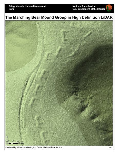 Figure 1. Marching Bear Effigy Mounds Lidar Imagery (Wikimedia Commons)