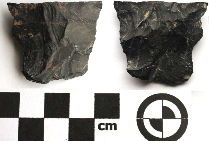 Biface fragment of artifact found above (dorsal - left, ventral - right)